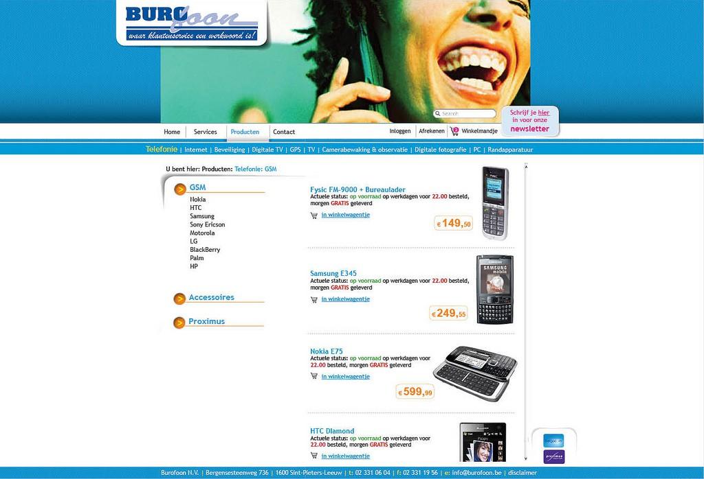 Moof ontwierp en realiseerde de website voor Burofoon. Met e-shop