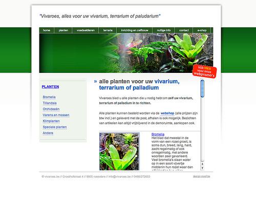Vivariums vivaroes. Moof ontwikkelde de website en integreerde een reeds aangekochte webshop tot een mooi geheel.