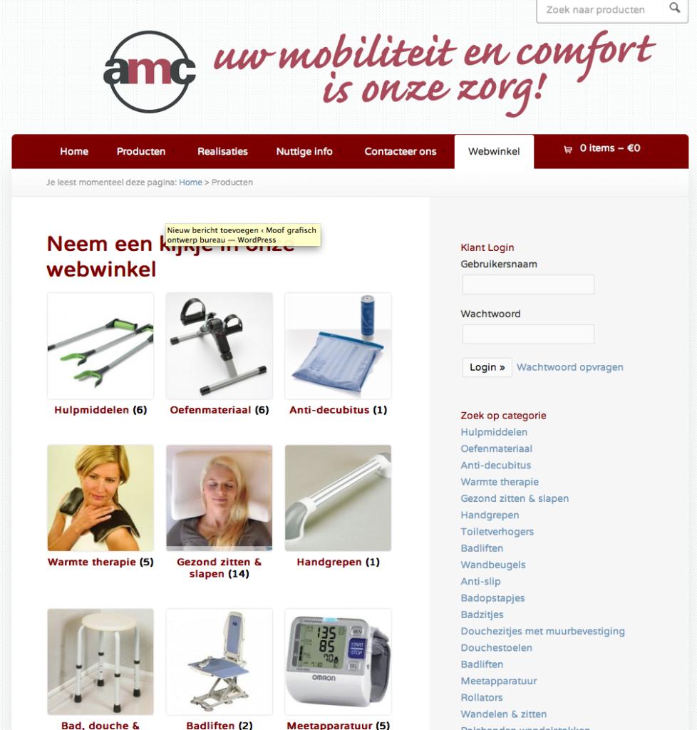 Moof grafisch ontwerp werkte de site en de e-shop van AMcentrum uit tot een succesvolle verkoopstool.