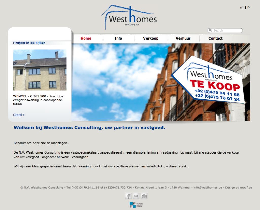 Moof ontwierp de site voor Westhomes Immo. De werfborden en de volledige huistijl