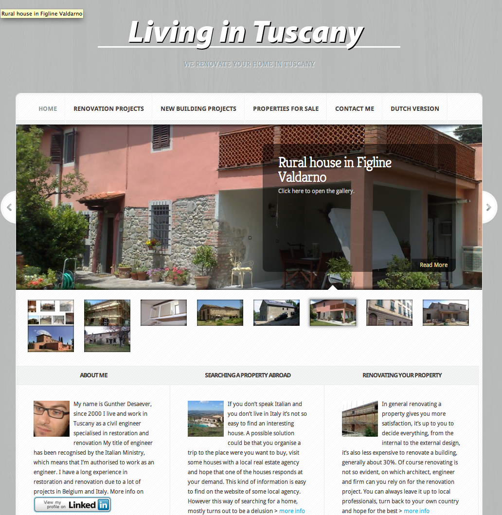 Living in Tuscany – website design
