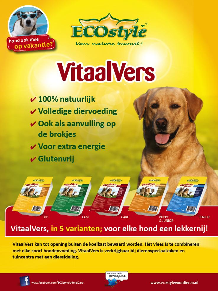 """Advertentie vitaalvers voor ECOstyle animalcare. Voor """"onze hond"""". Grafisch ontwerp Moof"""