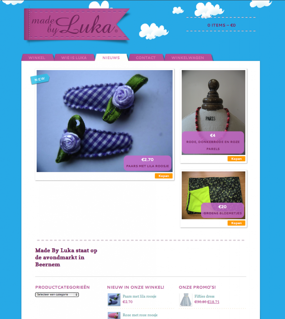 Moof plaatste de webwinkel van made by luka online. Een vrolijke hippe kinderkledij shop. Handmade kinderkledij en leuke accesoires