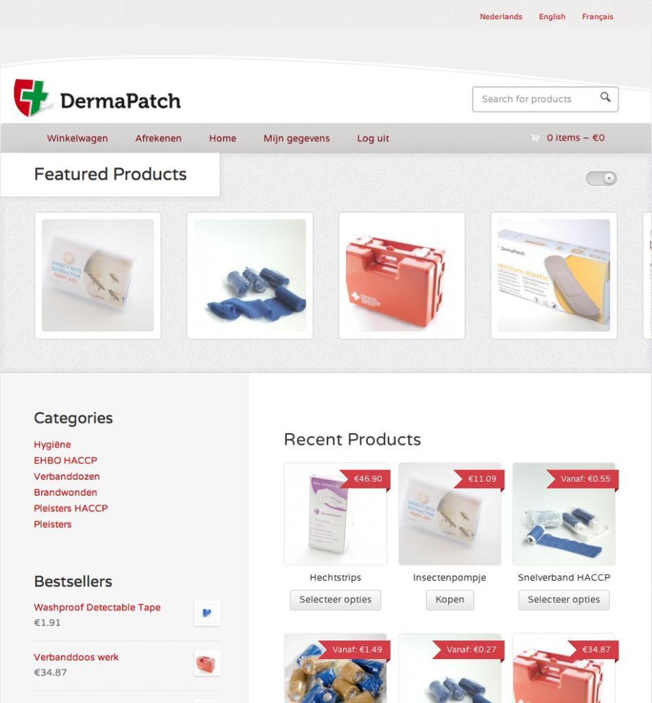 Moof ontwikkelde de e-shop voor dermapatch.