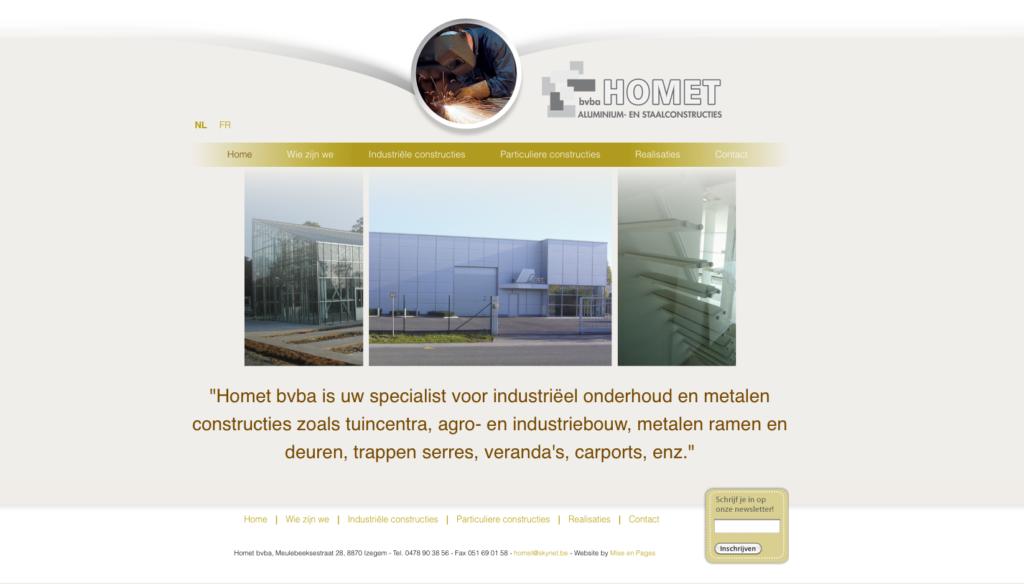 Moof ontwierp de website voor Homet, een metaalverwerkend bedrijf