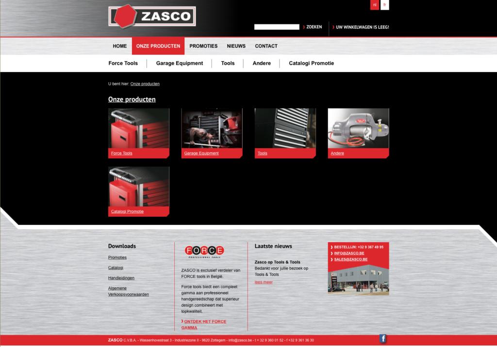 Zasco-website ontwerp